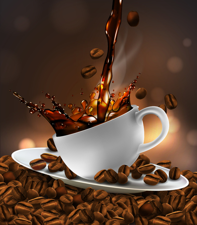 Cup of coffee and saucer with splash effect, coffee beans, transparent smoke. 3D vector. High detailed realistic illustration