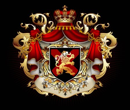 Heraldischer Hintergrund mit einem roten Hermelin-Königsmantel mit Krone und Schild. 3D-Vektor. Hochdetaillierte realistische Darstellung Vektorgrafik