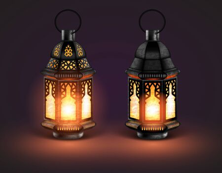 Two glowing eastern lamps with different decor on a brown background. 3D vector. High detailed realistic illustration Ilustração