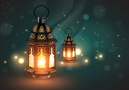 Two openwork oriental lamps on a blue background with highlights. 3D vector. High detailed realistic illustration Illustration