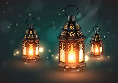 Three openwork oriental lamps on a blue background with highlights. 3D vector. High detailed realistic illustration