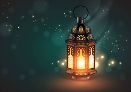 Oriental lamp with a filigree decoration on a blue background with backlight.  3D vector. High detailed realistic illustration