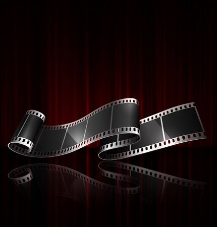 Film strip on the background of a red curtain. The effect of reflection and transparency.  3D vector. High detailed realistic illustration Ilustração