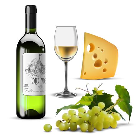 Bottle and transparent glass of white wine, cheese  and a branch of grapes. High detailed realistic illustration.