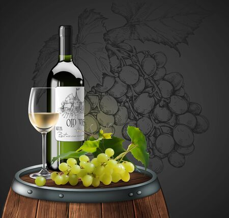 Bottle and glass of white wine on a wooden barrel. A bunch of grapes on a barrel and a drawing of grapes in the background. 3D vector. High detailed realistic illustration.