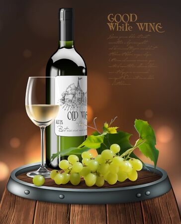 Bottle, transparent glass of white wine  and a bunch of grapes on a wooden wine barrel. High detailed realistic illustration