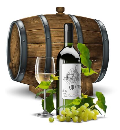 Bottle and transparent glass with white wine on a background of a wooden wine barrel. In the foreground is a bunch of grapes.  High detailed realistic illustration.