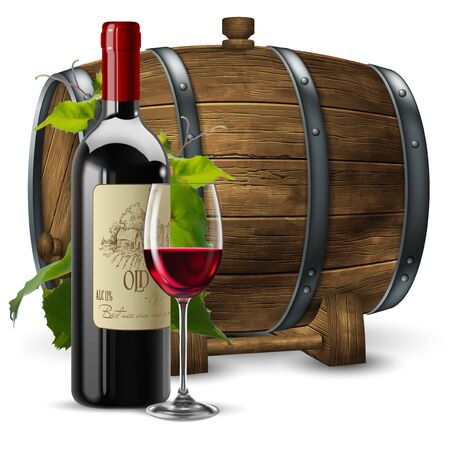 A bottle and a transparent glass with red wine twined with a vine on a wooden wine barrel background. Stock Vector - 129733052