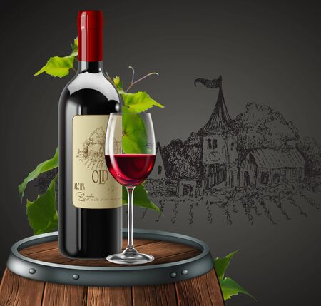 Bottle, glass of red wine and branch of grapes  on a wooden barrel. Chalet in the background. 3D vector. High detailed realistic illustration.