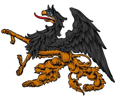 Mythical beast griffin, used in medieval heraldry as the Argus.  High detailed realistic illustration.