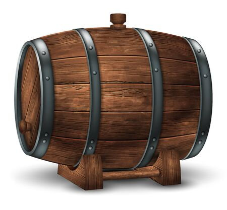 Wooden barrel for wine or other drinks  on a white background. 3D vector. High detailed realistic illustration.