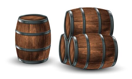 Four wooden barrels for wine or other drinks  on a white background. 3D vector. High detailed realistic illustration.