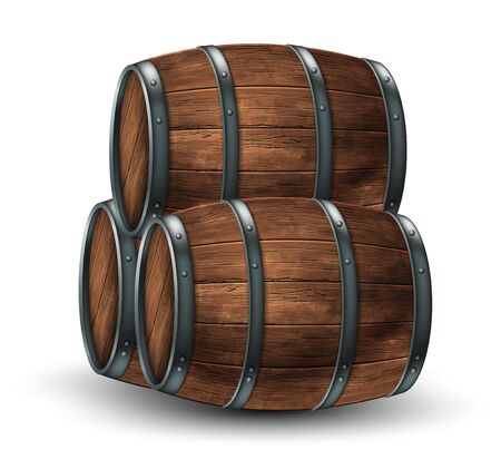 Three wooden barrels for wine or other drinks  on a white background. 3D vector. High detailed realistic illustration. Illustration