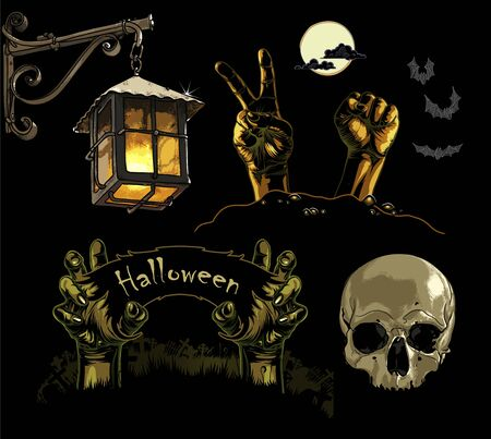 Hand drawing different Halloween images  dark colours. Иллюстрация