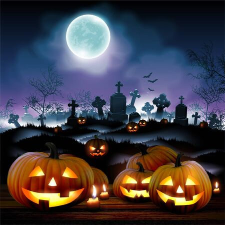 Halloween night  background with moon and pumpkins on a cemetery. High detailed realistic illustration
