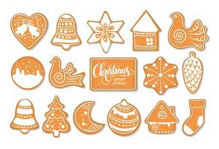 Set of Christmas gingerbread cookies of various shapes form on a white background. Freehand drawing. Vectores