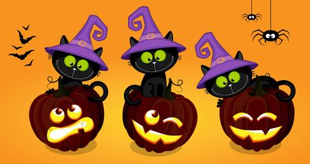 Set of black kittens in a witch hatss sitting on a Halloween pumpkins. Yellow background.  Hand drawing cartoon illustration.