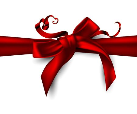 Christmas and New Year background with decorative red ribbon and bow on a white background. Highly realistic illustration.