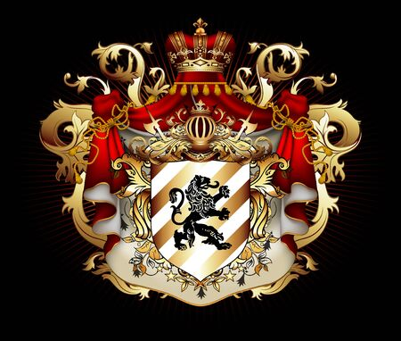 Heraldic background with a red ermine royal mantle with a crown and shield.  3D vector. High detailed realistic illustration