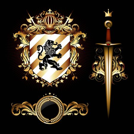 Set of heraldic elements, shield and saber on a black background. 3D vector. High detailed realistic illustration. Ilustrace