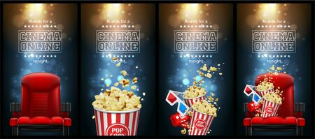 Advertising for the film industry. Popcorn, glasses and tickets  on a theater chair. 3D vector. High detailed realistic illustration Ilustração