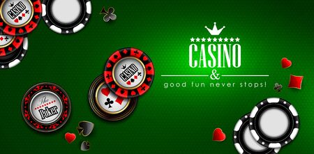 Casino advertising design. Playing chips are scattered on a green background. Highly realistic illustration.