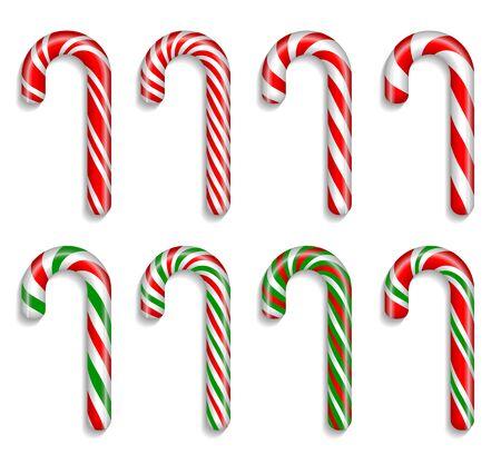 Ensemble de huit cannes de Noël traditionnelles sur fond blanc. Illustration réaliste très détaillée