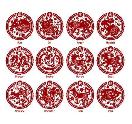Twelve animals of the Chinese zodiac. Each in a ornate  medallion with a Chinese character.