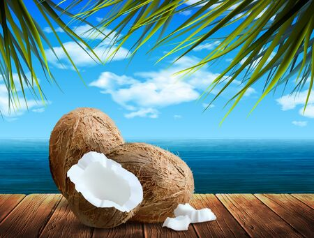 Whole and broken down coconuts lie on wooden boards on the background of the sea.  Highly realistic illustration.