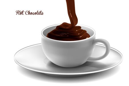 A glossy stream of hot chocolate is poured into a white porcelain cup standing on a saucer. High detailed realistic illustration.