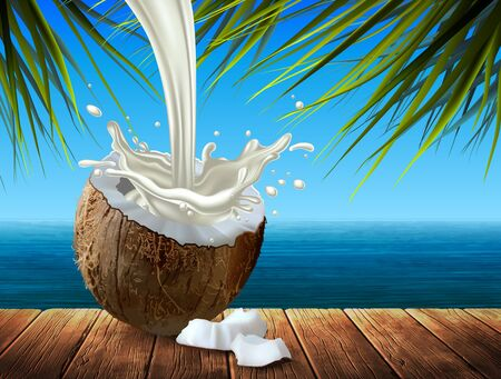 Half a coconut with milk and a few pieces of walnut against the backdrop of a sea landscape. Highly realistic illustration.