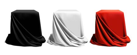 Set of three podiums beautifully draped in black, white and red silk, on a white background. Highly realistic illustration.