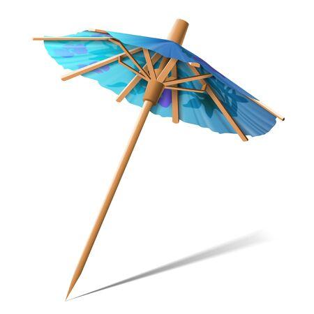 Petit parapluie en papier bleu pour décorer les desserts sur fond blanc. Illustration très réaliste.