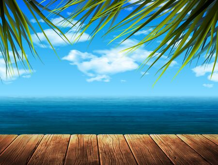 Landscape. The sea and clouds in the sky. 3D vector. High detailed realistic illustration.