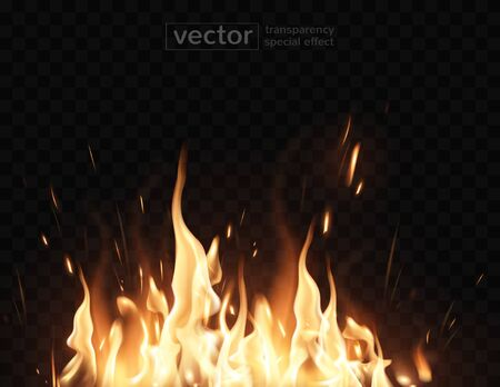 Tongues of flame, sparks, transparent smoke on a checkered background. Very realistic illustration.