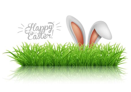 Happy Easter greeting card. Rabbit ears peeping out of grass with daisies. Vector illustration.
