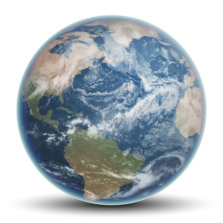 Blue planet Earth with continents and oceans. Highly realistic illustration.