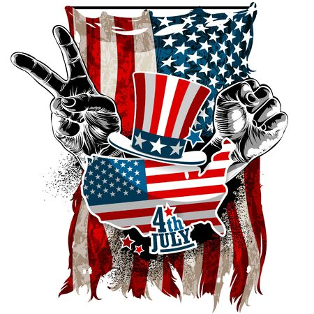 Shield with the decor of the American flag and two hands on the sides with a victory gesture. Detailed realistic illustration.