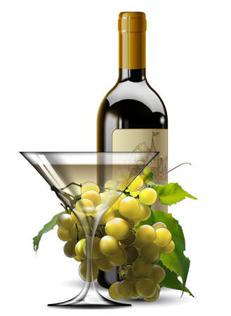 Transparent glass of white wine, bottle of wine and a branch of grapes on a wight background. High detailed realistic illustration. Vetores