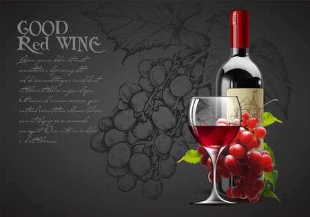 Transparent glass of red wine, bottle of wine and a branch of grapes on a wight background. High detailed realistic illustration.