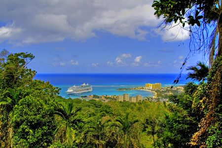 View over Ocho Rios port town, Jamaica, with anchored cruise liner