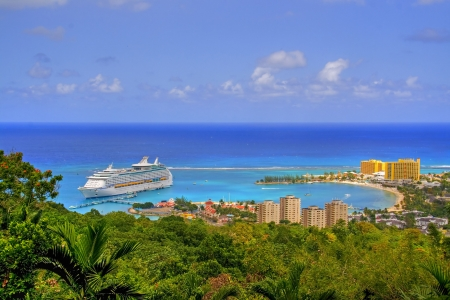 liner: View over Ocho Rios port town, Jamaica, with anchored cruise liner