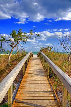 Bridge to the beach in the Tampa area, Florida, USA