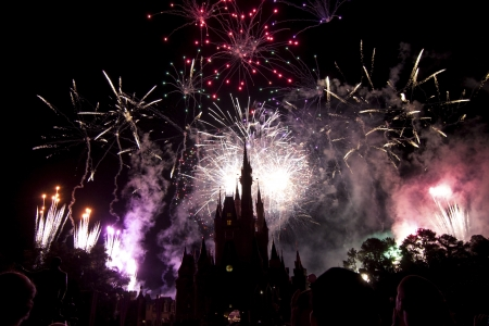 Fireworks over Cinderellas castle, Magic Kingdom, orlando, Florida