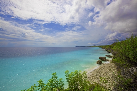 View over the beautiful coastline on Bonaire Stock Photo