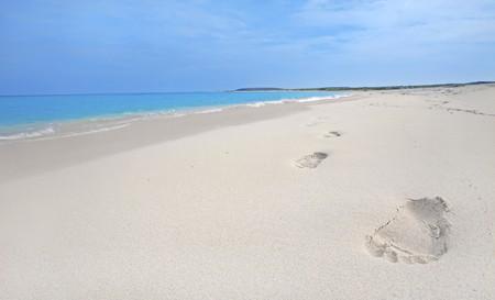 Footprints in the sand on Boca Grandi beach, Aruba photo