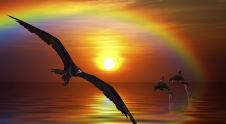 birds of paradise: Fantasy picture of a bird flying, and dolphins jumping in the sunset Stock Photo