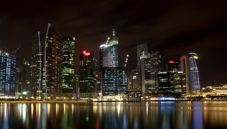 Night scene of financial district,Singapore. From the river. Stock Photo - 8303738