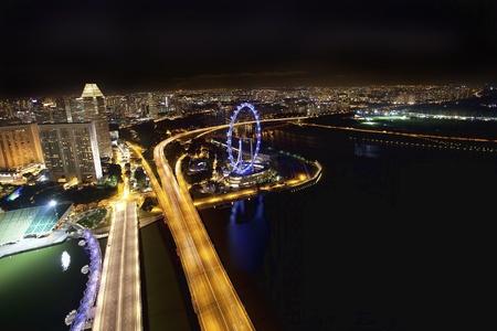 jachthaven: De scène van de nacht van de financiële wijk, Singapore. Van de rivier. Stockfoto