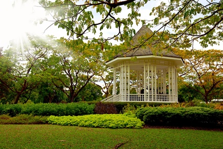 Picture of the beautiful bandstand in Singapore botanic gardens